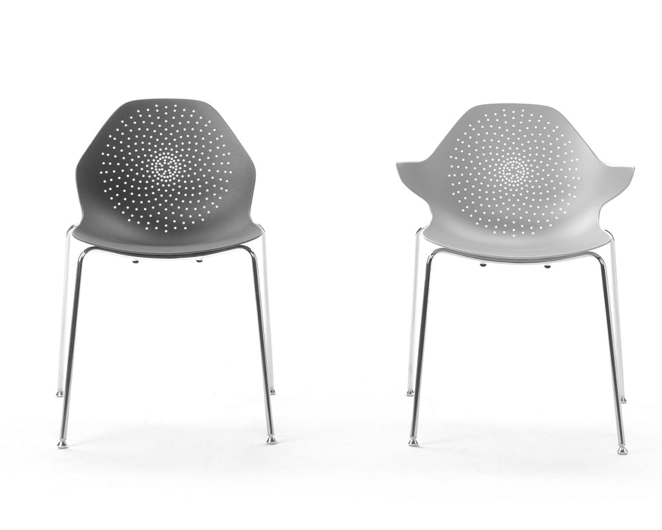 High - end Stackable cafe chairs From Italy - These aluminium stacking chairs are available in a number of matt lacquered colours with or without the arm detail Shown here in all white with the stylish perforated seat and back design front view