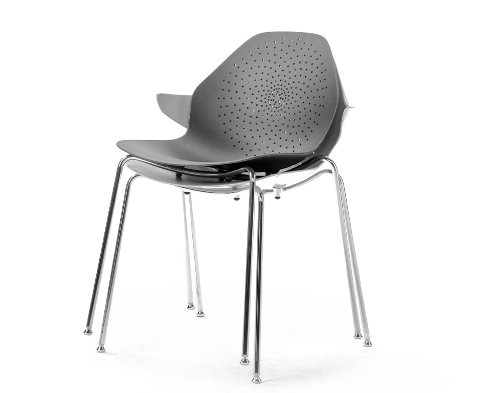 High quality Stackable cafe chairs From Italy - These aluminium stacking chairs are available in a number of matt lacquered colours with or without the arm detail Shown here in all white with the stylish perforated seat and back design