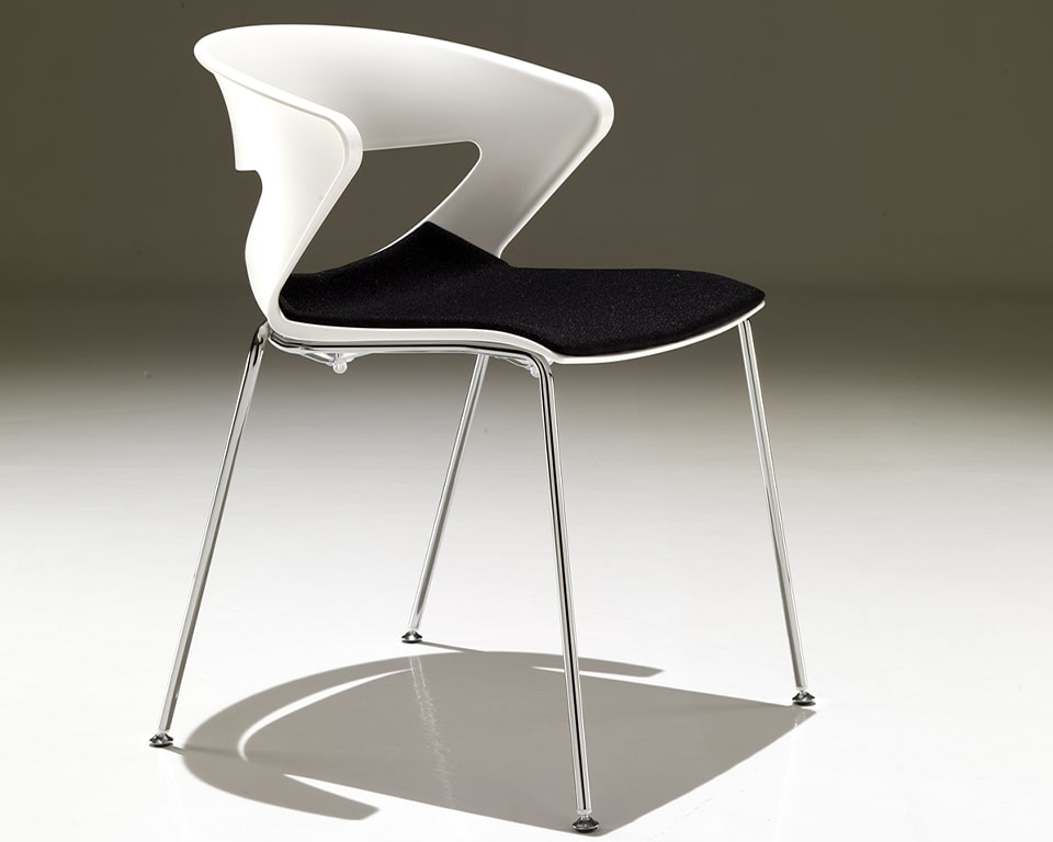 luxury quality Stacking chairs with upholstered seats to be used as comfortable dining chairs - Designer meeting room or cafe style chairs with polypropylene seat and back in white with a stackable chrome 4 leg base - High quality designer stackable meeting room and dining chairs in many colours with a black fabric seat