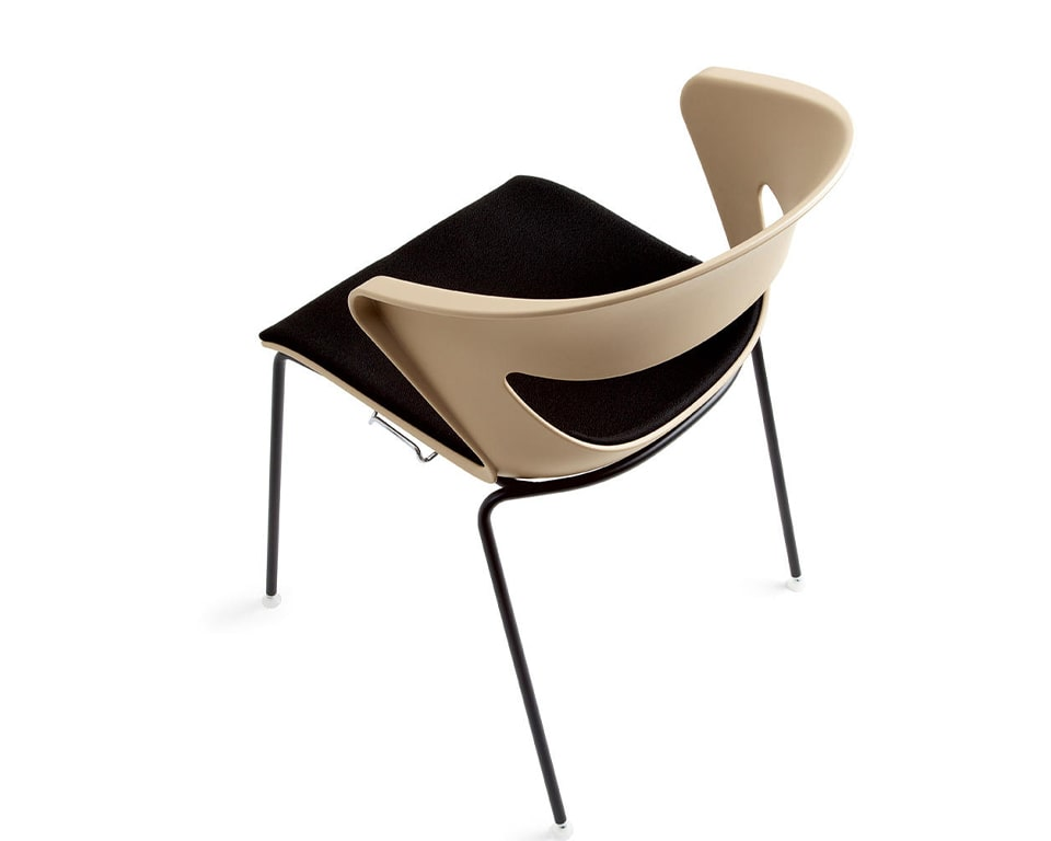 High quality Stackable side chairs - Designer meeting room or cafe style chairs with polypropylene seat and back in beige with a stackable black 4 leg base - High quality Italian meeting room and dining chairs in many colours with a black fabric seat