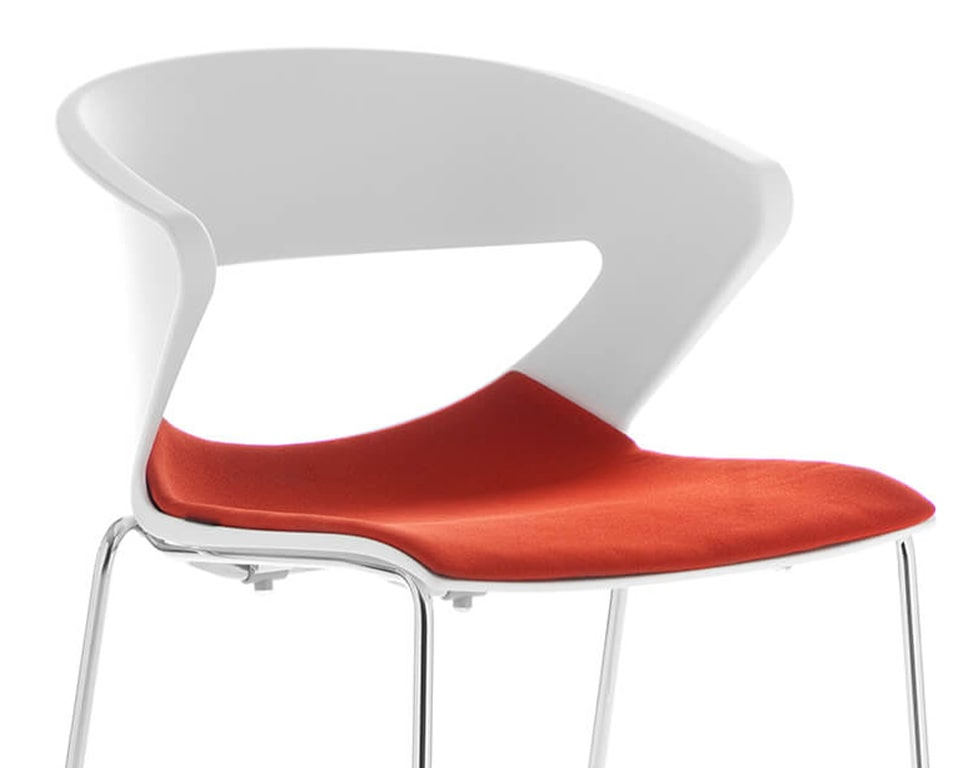 High end Stacking side chairs with upholstered seat - Designer meeting room or cafe style chairs with polypropylene seat and back in white with a stackable chrome 4 leg base - luxury quality Italian stackable meeting room and dining chairs in many colours with a red fabric seat