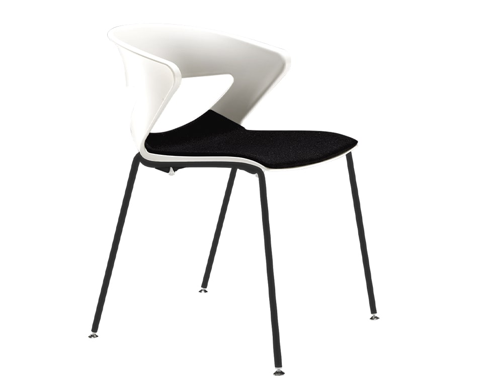 luxury quality Stackable upholstered dining chairs - Designer meeting room or cafe style chairs with polypropylene seat and back in white with a stackable black 4 leg base - High quality Italian meeting room and dining chairs in many colours with a black fabric seat