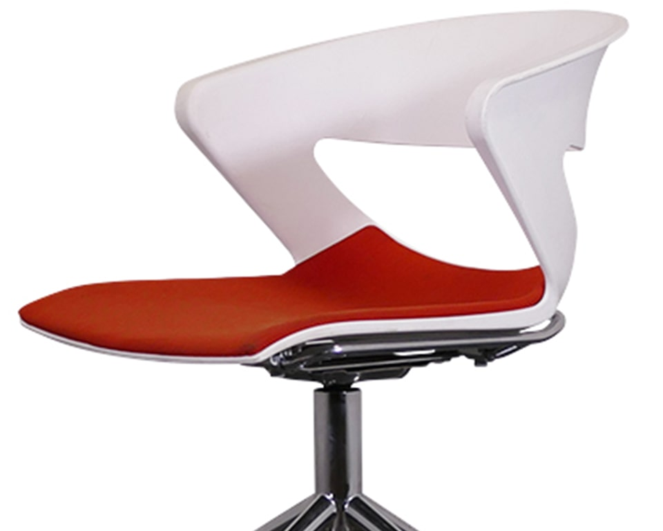 Luxury High end swivel meeting room chairs with castors - Stylish 4 spoke designer rotating swivel base available with or without gas lift height adjustment. Designer upholstered polypropylene shells provide excellent comfort for long meetings. Shown here with a chrome frame and white frame with a fully upholstered seat only in red fabric