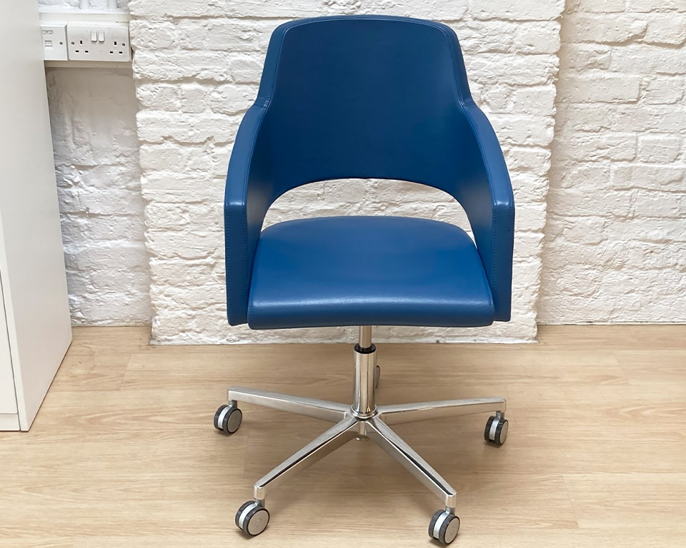 Designer home office chair- high quality Italian small executive swivel chair with a tilt mechanism. seat height adjustment. Die cast polished aluminium 5 star base and castors. Also available without wheels. Shown in G range Blue Italian leather