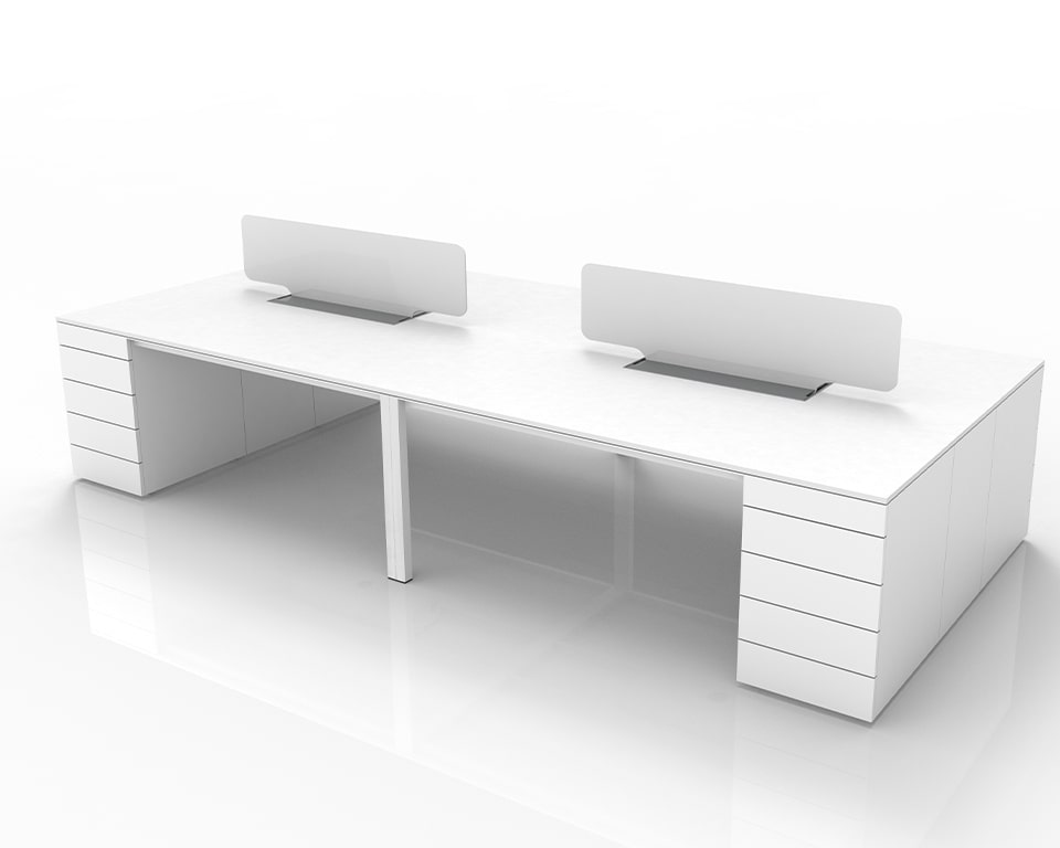 Luxury High End executive Bench Desks with Pedestals and cable management - Shown here as a 2 position double desk 4000 x 1600 with 2 perspex screens and lay in wire management with top access - Shown in White laminate with white perspex screen dividers