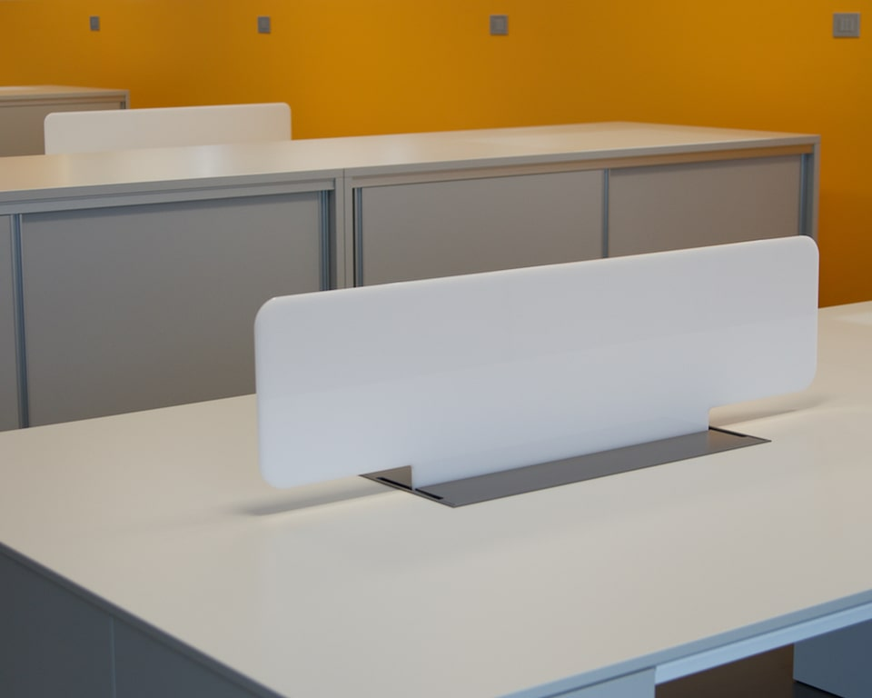 Detail of the perspex screen divider for High quality Minimum double desks and benches