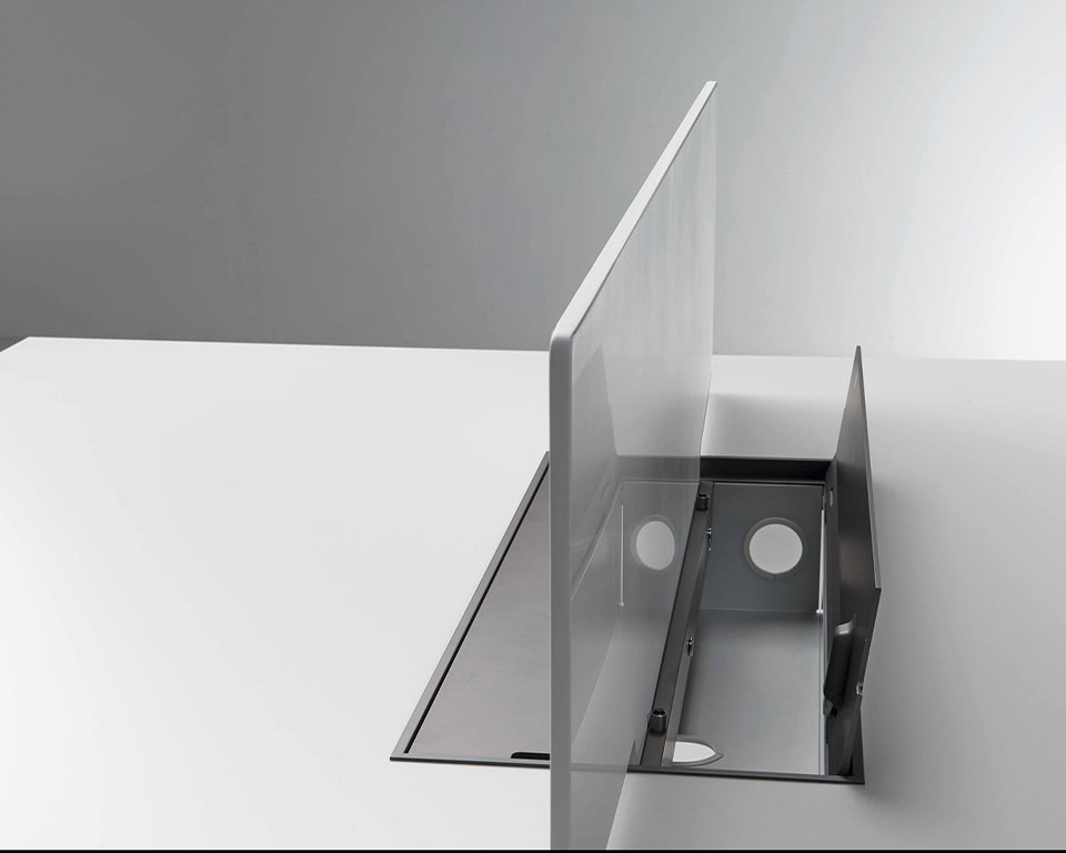 Detail of the perspex screen divider for High quality Minimum double desks and benches showing the Top access cable management box
