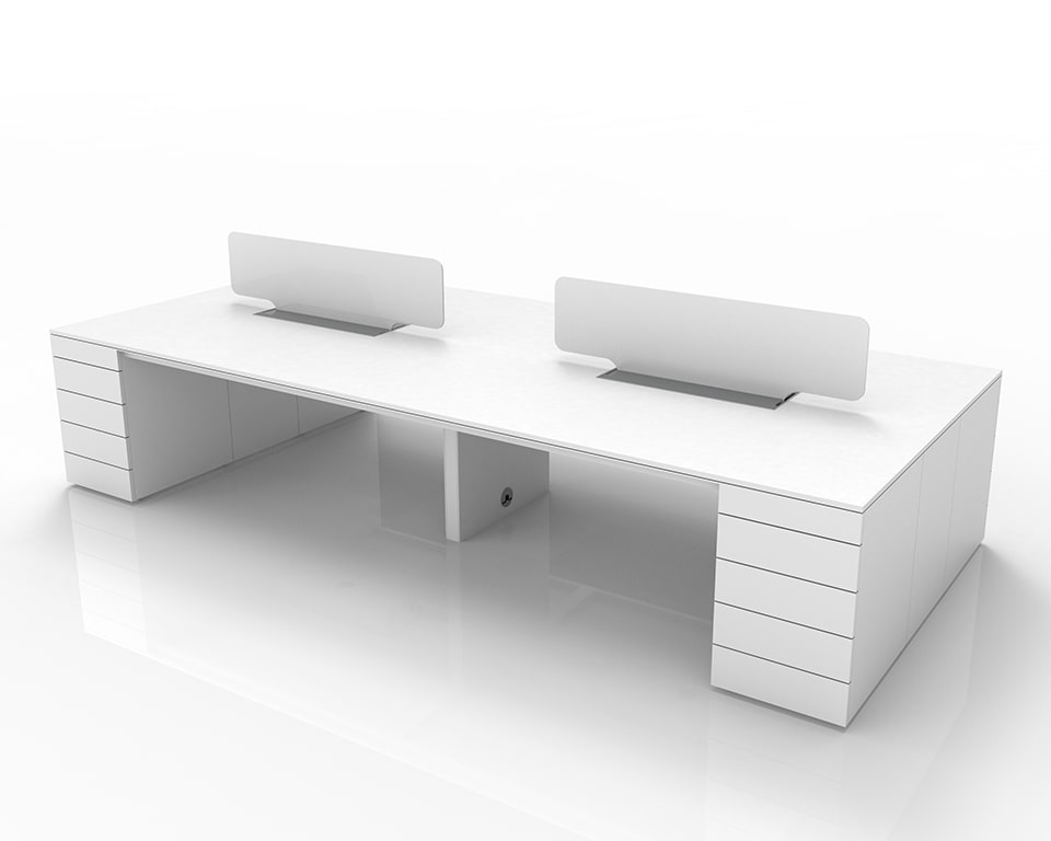 Luxury High quality Italian designer Bench Desks with Pedestals and cable management - Shown here as a 4 position bench desk 4000 x 1600 with 2 perspex screens and lay in wire management with top access - Shown in White laminate with white perspex screen dividers and the additional recessed central panel leg