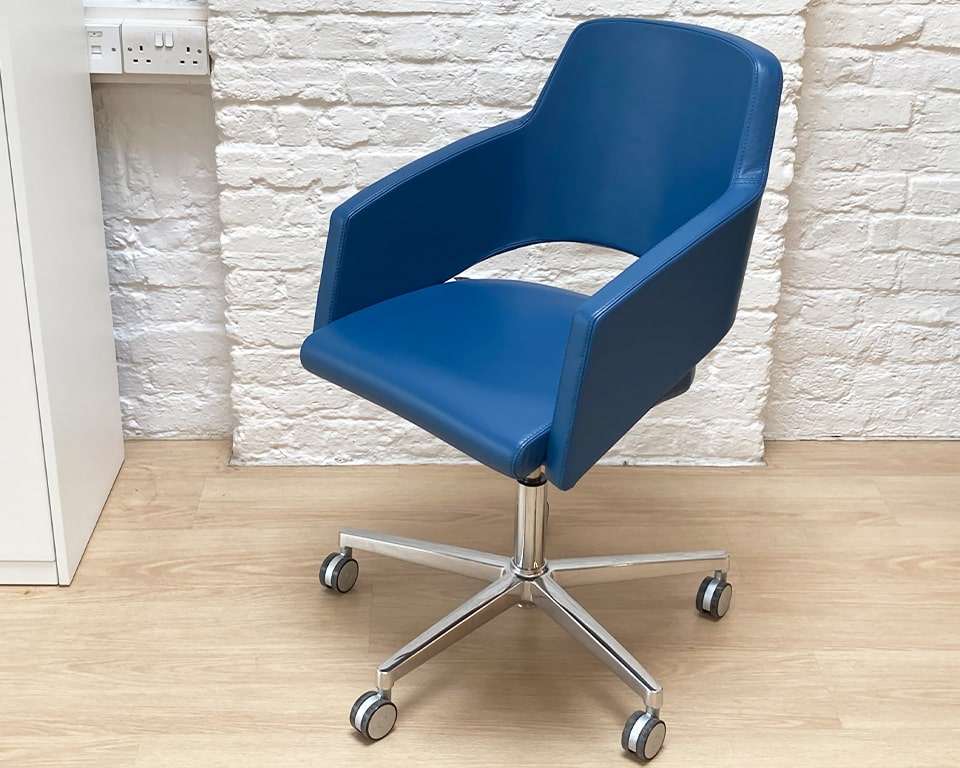 Luxury home office chair- high quality 100% made in Italy small designer swivel chair with a tilt mechanism. gas lift seat height adjustment. Die cast polished aluminium 5 star base and castors. Also available without wheels. Shown in G range Blue Italian leather