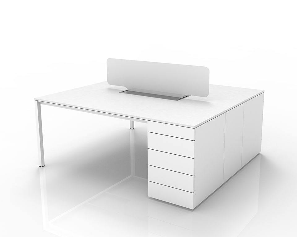 Luxury High End executive double Desks for home offices or commercial offices with Pedestals and cable management - Shown here as a 2 position double desk 2000 x 1600 with 1 perspex screen and lay in wire management with top access - Shown in White laminate with white perspex screen dividers