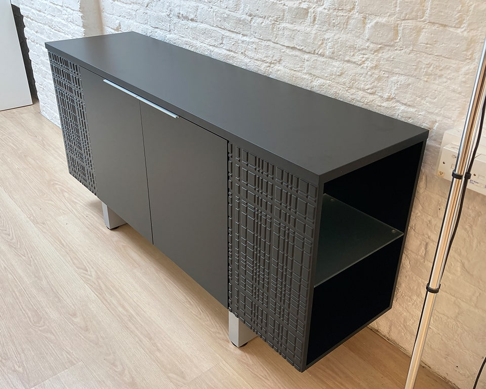 Black lacquered sideboard and bookcase - High quality Modi range sideboard in matt black with glass bookcase shelves at either end with two central hinged doors.