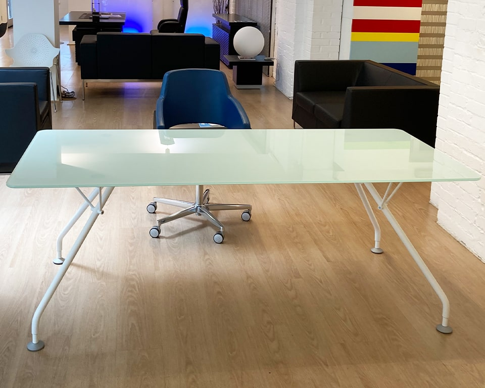Luxury glass desk 2000 x 910 mm with white frame and float glass frosted glass desk top - This desk is the pefect home office table or small meeting room table for 6 people