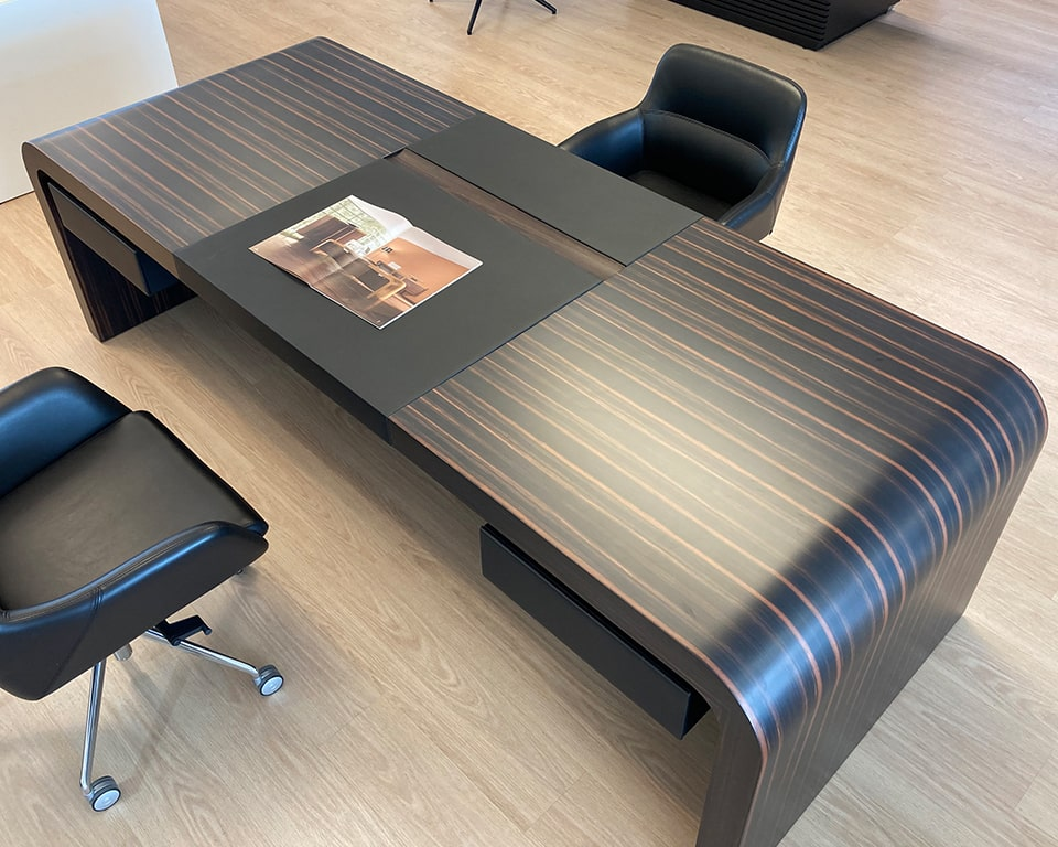 large luxury executive desk in Macassar Ebony real wood- 2600 x 1000 desk or even larger 2850 x 1000 desk sizes available as rectangular or L shaped High quality CEO executive desks. Shown here with individual leather wrapped drawers. Luxury quality executive office furniture