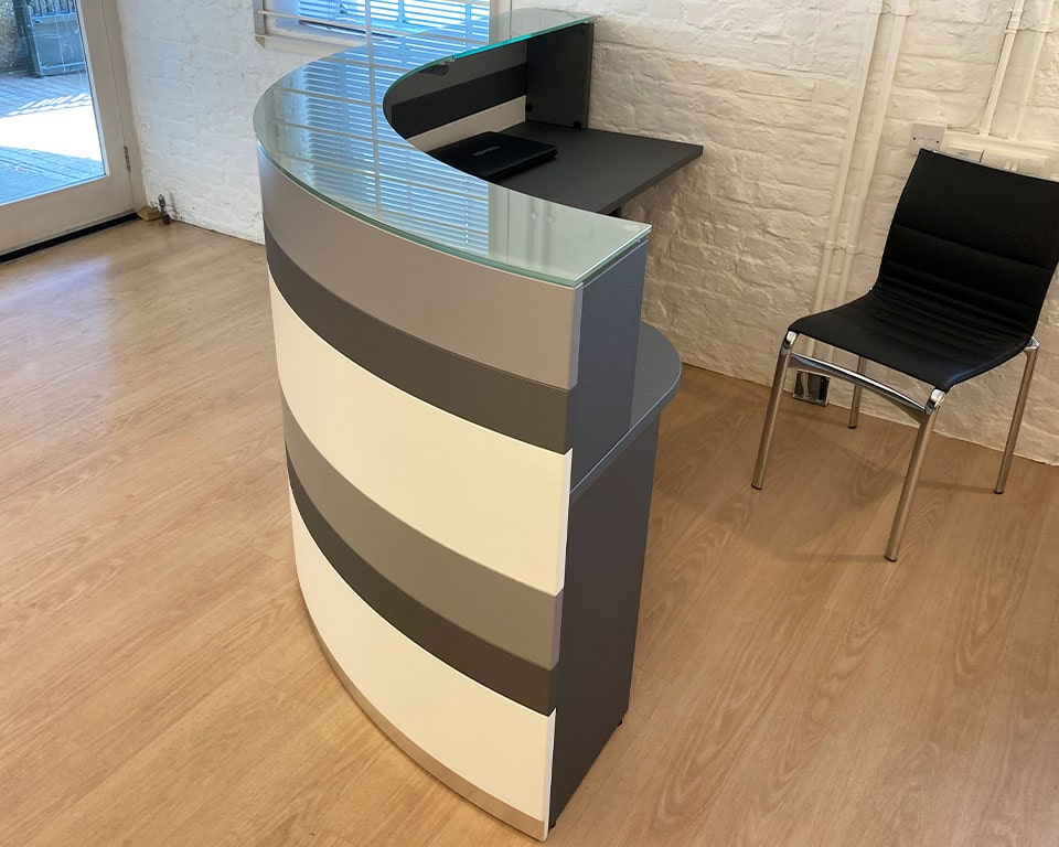 High quality Designer reception desks - Twist is a stylish modular range of reception desks with 6 horizontal colour bands in a choice of at least 15 contemporary matt lacquered colours
