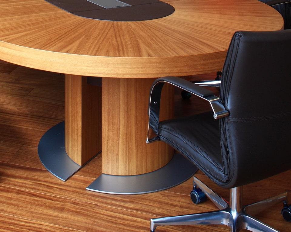 High quality Boardroom tables with cable management - Close up detail of the Tau table leg with open vertical partitions to accept cable management vertically.