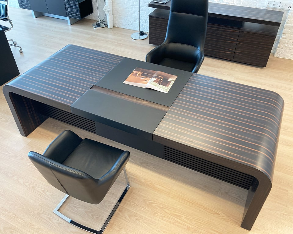 High end executive desks-very large executive desk in Macassar Ebony real wood- 2600 x 1000 desk or even larger 2850 x 1000 desk sizes available as rectangular or L shaped High quality CEO executive desks. Luxury quality executive office furniture
