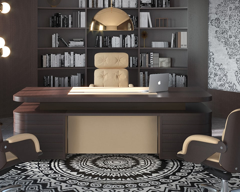 Luxury quality executive office furniture-Modern double pedestal partners desk in dark oak wood with leather inlaid writing pad and matching leather modesty panel- High quality traditional Italian craftsmanship . shown with matching Nesi executive chairs.