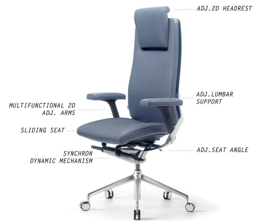 High back fully adjustable executive chair with headrest and leather padded adjustable arms