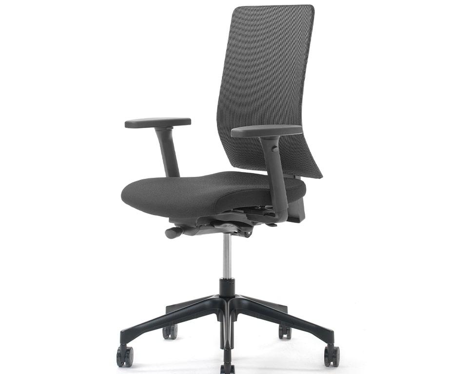 High quality mesh back operators chair - black mesh back panel Fully adjustable ergonomic operators chair with fully adjustable arms. Stylish high - end computer operators chair with the 100% made in Italy brand