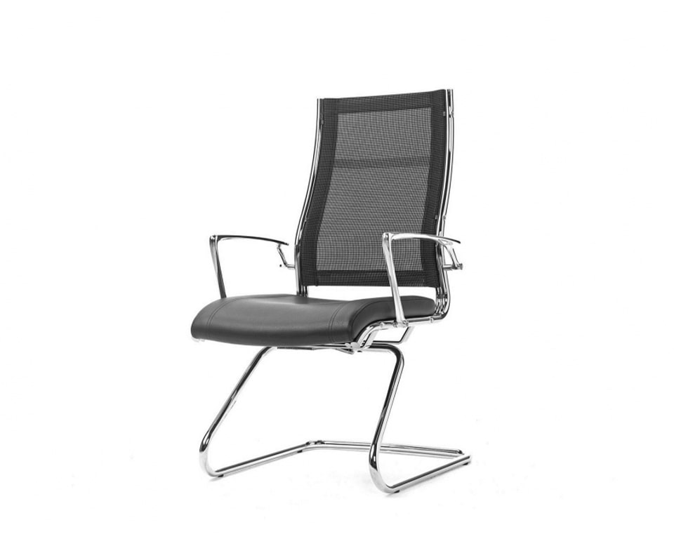 High quality Mesh back boardroom chairs with a cantilever frame - Leather upholstered seat and die cast polished aluminium arms.