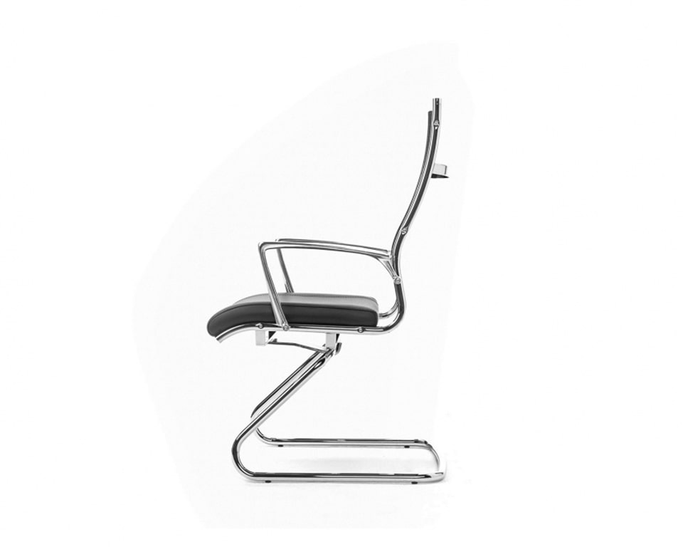 Luxury Mesh back boardroom chairs with a cantilever frame - Leather upholstered seat and die cast polished aluminium arms.