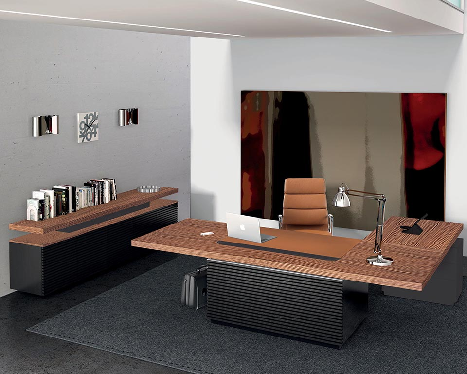 Taiko executive L shaped Italian desk in Zebra wood and black