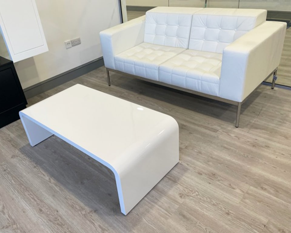 White leather class made 2 seat buttoned sofa and White gloss TAU rectangular coffee table