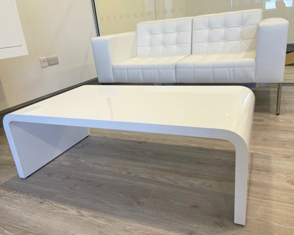 White leather class made 2 seat buttoned sofa and White gloss TAU rectangular 1200 x 600 coffee table
