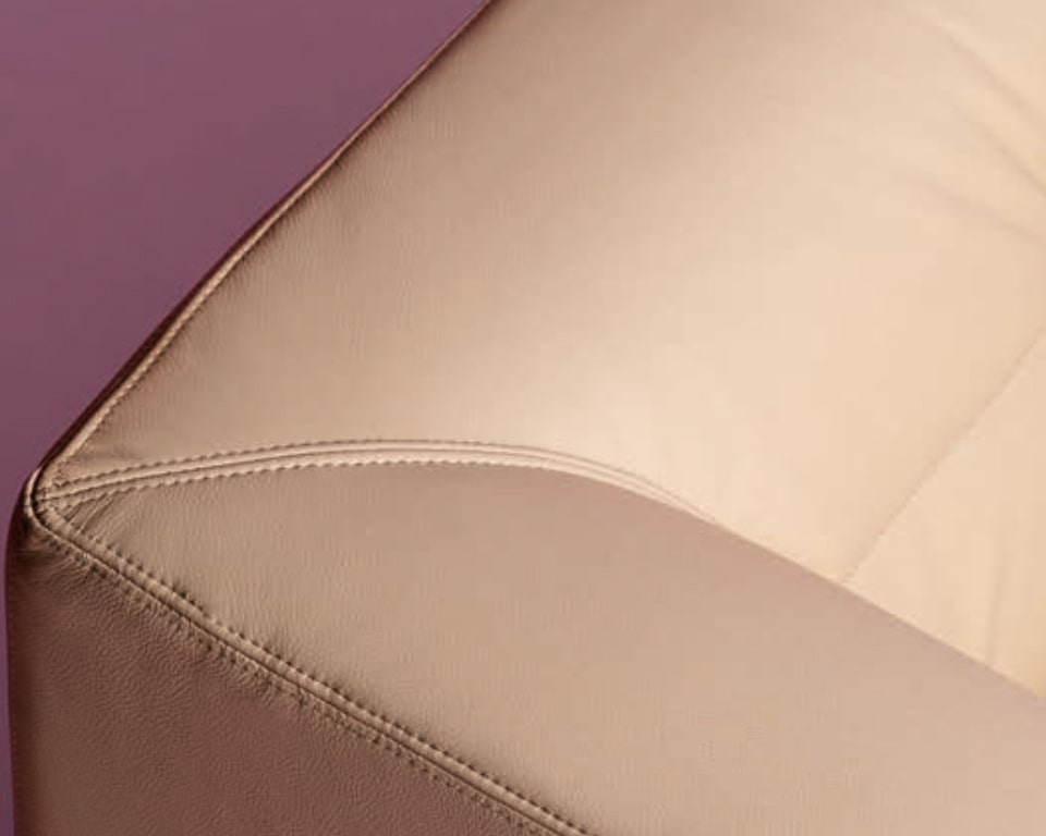 Cube sofa detail of the high quality double stitching