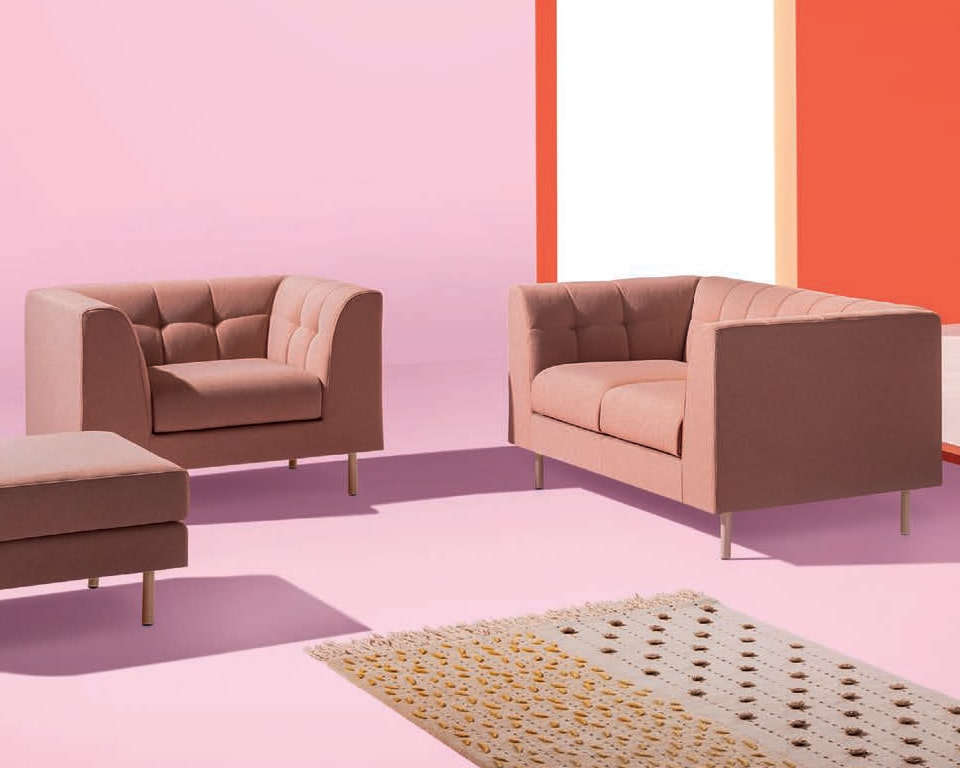 Cube high quality two seat sofa and armchair with a quilted back detail and matching stools and benches