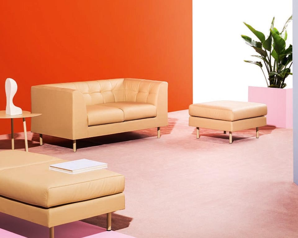 Cube high quality two seat sofa with a quilted back detail and matching stools and benches