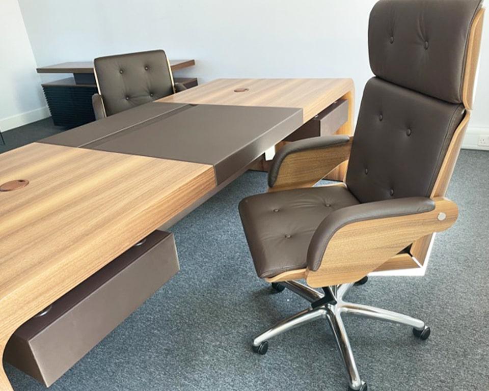 TAU CEO executive desk and matching Nesi Leather executive chairs