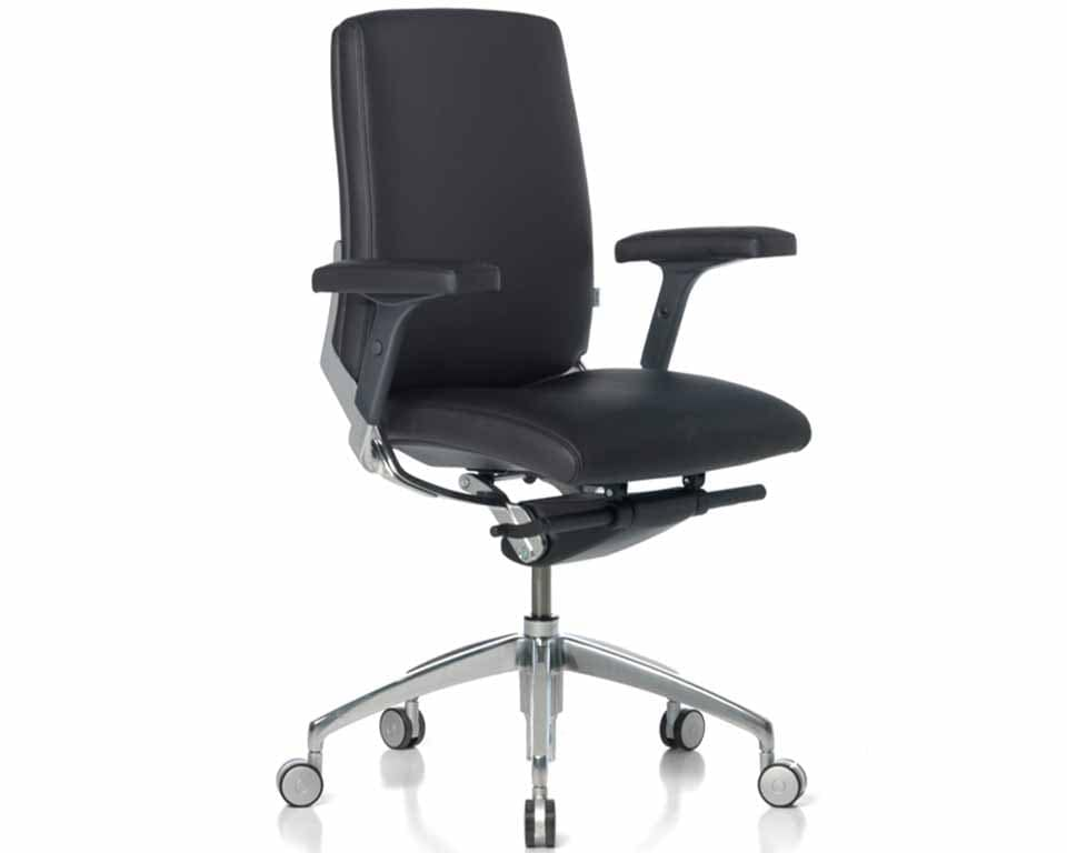 Medium High back Leather executive task chairs with height adjustable leather arms. Fully adjustable high end executive desk chair with or without arms