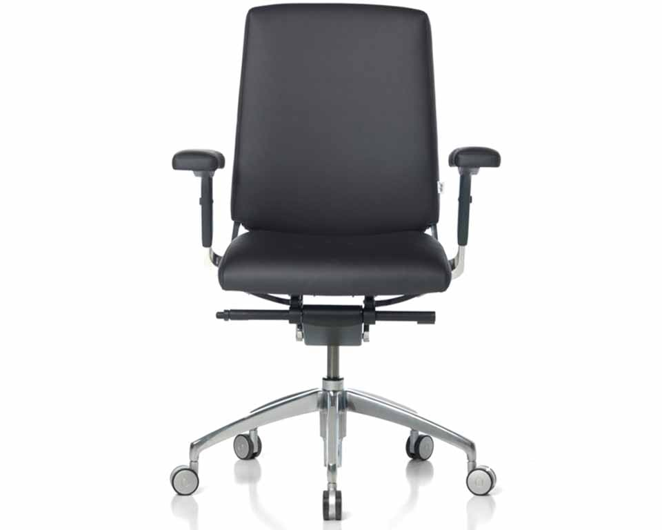 Medium High back Leather executive chairs with height adjustable leather arms. Fully adjustable high end executive desk chair with or without arms