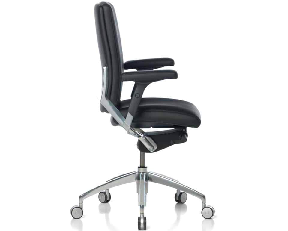Medium High back Leather executive chairs with height adjustable leather arms. Fully adjustable high end executive desk chair
