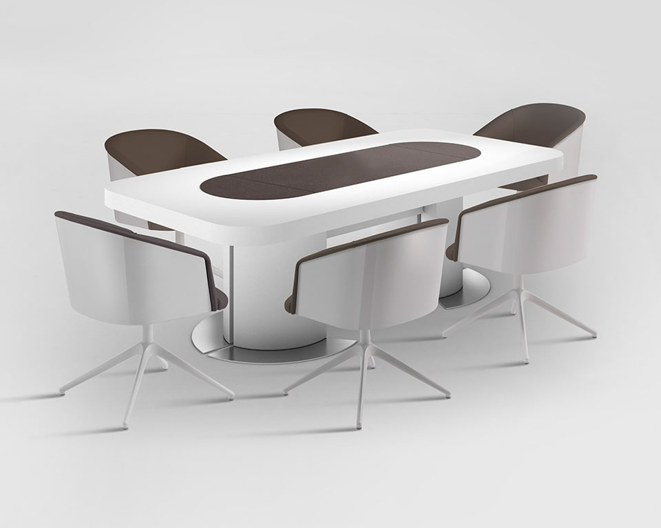 Tau rectangular boardroom table for 8-10 people shown here in white gloss with matching Rica boardroom chairs